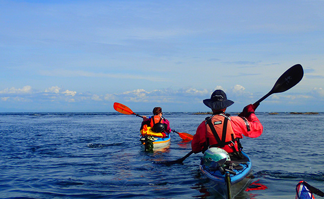 sea kayak members on the water